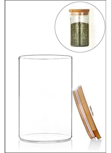 Kitchen Love Bambu Kapaklı-Borosılıkat Cam Kavanoz Renkli
